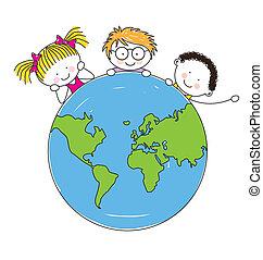 mundo, unido, niños, alrededor