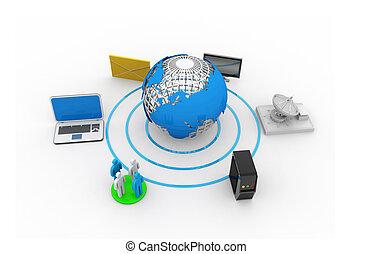mundo, vários, conectado, dispositivos