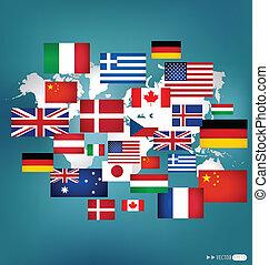 mundo, vector, illustration., flags.