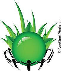 mundo, verde, ao redor, pessoas