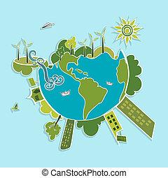 mundo, verde, elements., ecologic