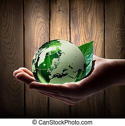 mundo, verde, mão