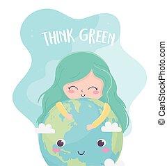mundo, verde, pensar, ecologia, meio ambiente, cute, menina