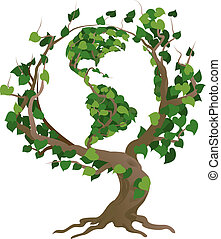 mundo, vetorial, árvore verde, ilustração