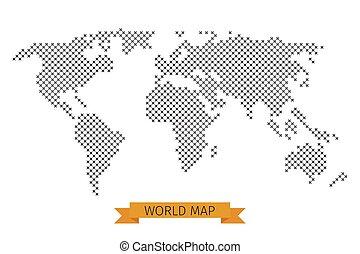mundo, vetorial, crucifixos, ponto, mapa