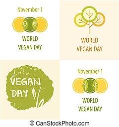 mundo, vetorial, dia, vegan, illustration.