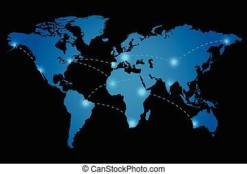 mundo, vetorial, ilustração, mapa