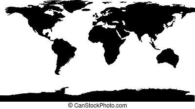 mundo, vetorial, pretas, illustration., mapa