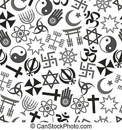 mundo, vetorial, símbolos, padrão, religiões, cinzento, ...