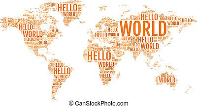 mundo, vetorial, tipográfico, mapa, olá