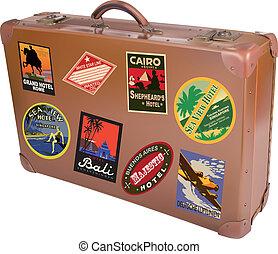 mundo, viajero, maleta