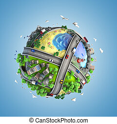 mundo, vida, estilos, globo, conceito