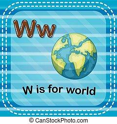 mundo, w, letra, flashcard