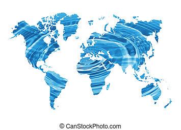 mundo, water-, mapa