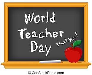 mundo, you!, chalkboard, 5, professor, dia, agradecer, madeira, maçã, professor, outubro