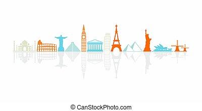 mundos, más, colorido, iconos, señales, famoso, fila