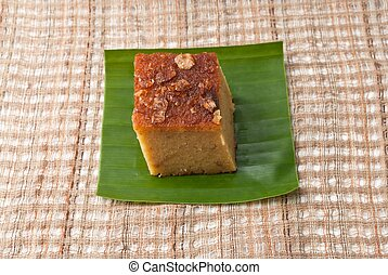 """Mung Bean Thai Custard Dessert Recipe, Khanom Maw Kaeng""(thai name) made with eggs and pumpkin, Ancient thai dessert on fabric"