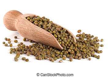 mung beans in a wooden shovel isolated on white background