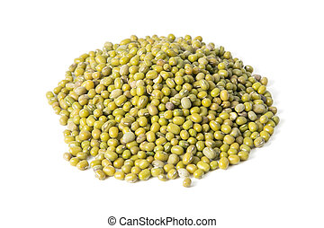 Mung beans isolated on white background. Front views, close-up
