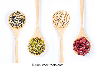 Mung beans ,red bean, soy bean and Black and White sesame