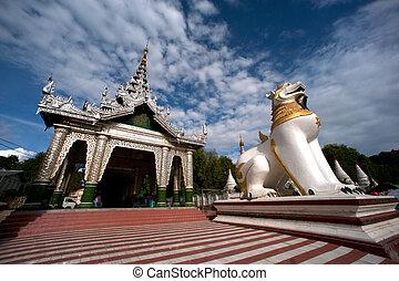 muni, maha, gardien, temple, myanmar., grand, lion