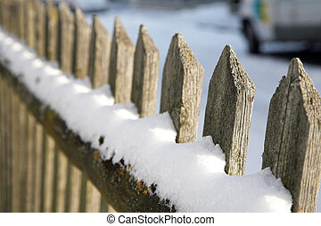 Munich #08 - Wooden fence in Munich, covered in snow....