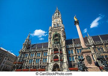 Munich city hall at Marienplatz, Bavaria, Germany