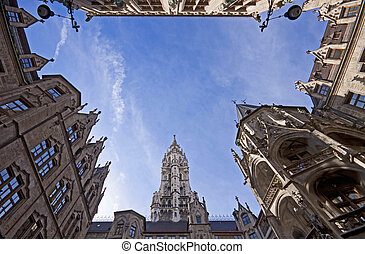Munich City Hall, the yard - The gothic architecture of the...