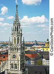 Munich city hall tower and center skyline