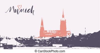 munich, ciudad, horizonte, y, lettering.