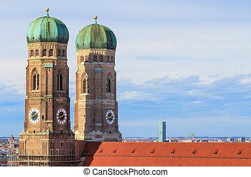 munich, frauenkirche, cathédrale, de, notre, cher, dame,...