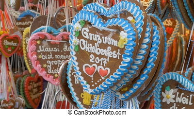 Traditional Colorful Gingerbread Heart Shaped at the...