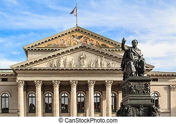 munich, max, frente, estatua, ópera, joseph, rey