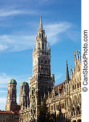 The Neues Rathaus in Munich, Germany, with a Christmas tree in front. Focus on Tower