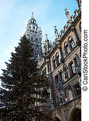 The Neues Rathaus in Munich, Germany, with a Christmas tree in front