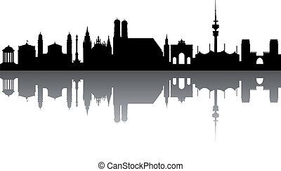 Munich Skyline abstract on white Background