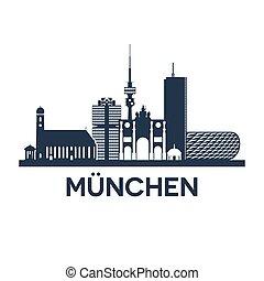 Munich Skyline Emblem