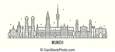 Munich skyline, Germany city buildings vector