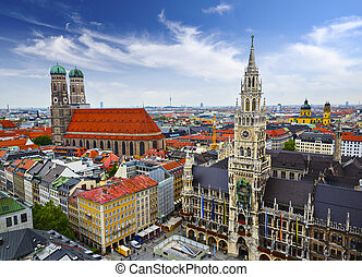 Munich Skyline - Munich, Germany skyline at City Hall.