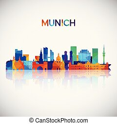 Munich skyline silhouette in colorful geometric style.