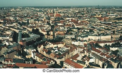 Munich, the capital and most populous city of Bavaria in Germany. Aerial establishing shot