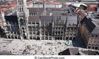The Rathaus-Glockenspiel In the New Town Hall of Munich, a tourist attraction in Marienplatz. Moving figures in mechanical clock. A masterpiece of engineering