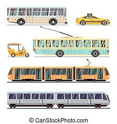 Municipal city transport vector flat icons set
