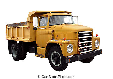 This is a picture of a old yellow city dump truck isolated on a white background.