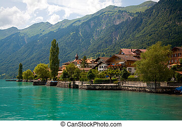 This is a view of the lake and Municipality of Brienz in the district of Interlaken in the canton of Berne in Switzerland.