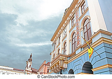 Municipality of the city. Architecture in the old town Chernivtsi. Western Ukraine