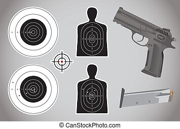munition, gewehr, -, ziele, abbildung