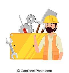 munkás, állhatatos, eszközök, szerelő, profi