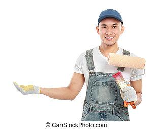 munkás, átnyújtás, szobafestő