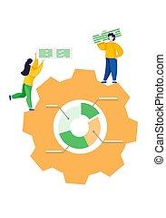 munkás, ügy, megfejt, jelent, csapatmunka, közöl, concept., ...